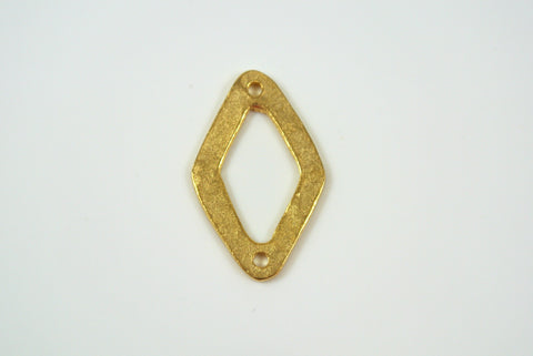 Diamond Shape Link Satin Gold Electroplated 15x24mm 1 Piece
