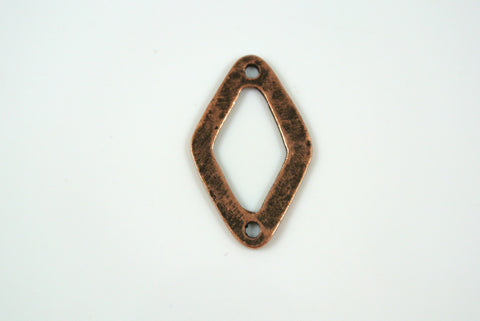 Diamond Shape Link Antique Copper Electroplated 15x24mm 1 Piece