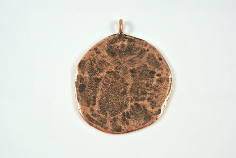 Disk Texture Pendant Antique Copper Electroplated 33mm 1 Piece