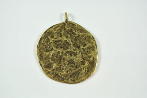 Disk Texture Pendant Antique Brass Electroplated 33mm 1 Piece