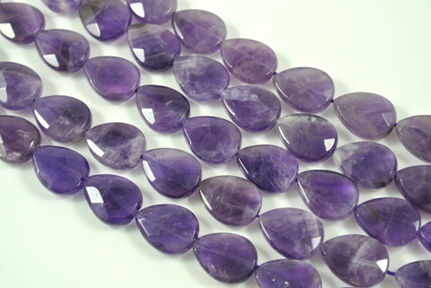 Amethyst Teardrop Faceted 12x16mm