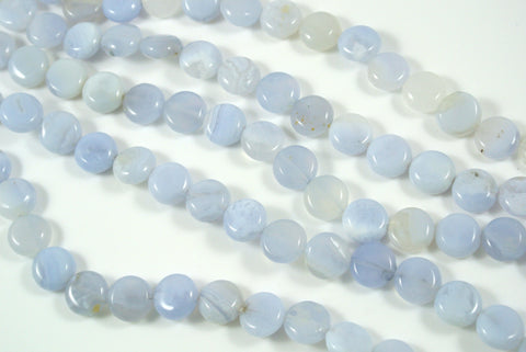 Blue Chalcedony Puff Coin 10mm