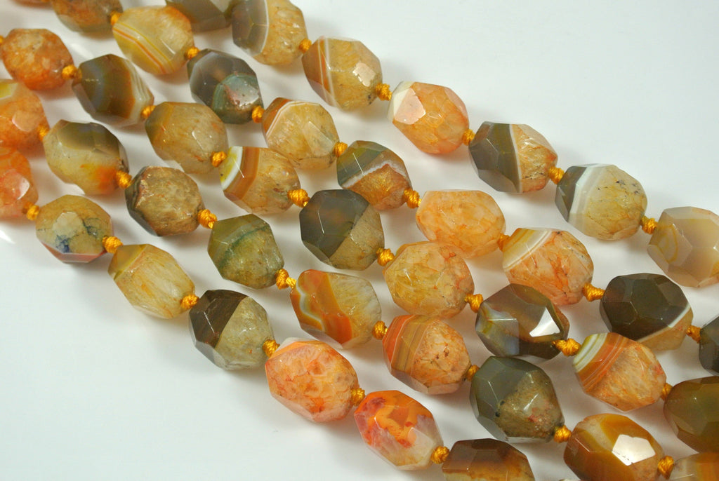 Agate Orange Faceted Freeform Nugget 15x20mm