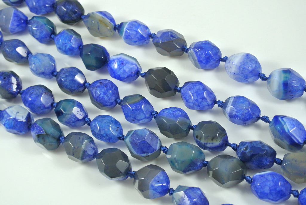 Agate Blue Faceted Freeform Nugget 15x20mm