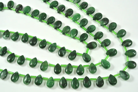 African Jade Briolette Drop 8x12mm