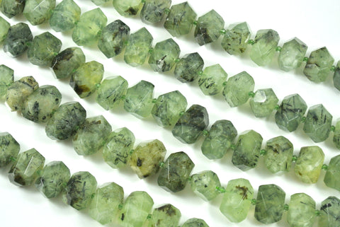 Prehnite Faceted Freeform Nugget 13-22mm