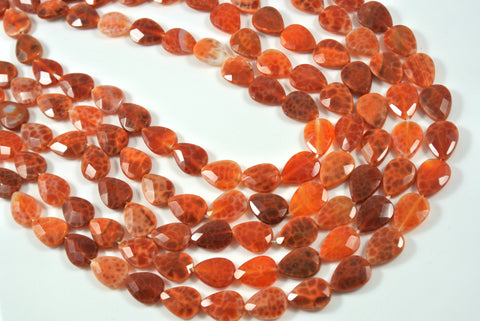 Fire Crackle Agate Orange Faceted Teardrop 10x14mm