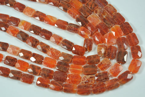Fire Crackle Agate Orange Faceted Pillow 10x14mm