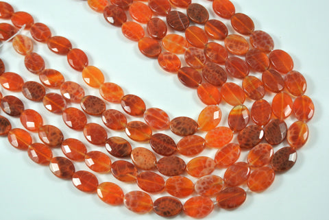 Fire Crackle Agate Orange Faceted Oval 10x14mm