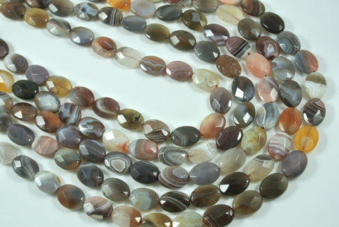 Botswana Agate Faceted Oval 10x14mm