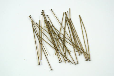 "Headpin Antique Brass Electroplated 1.5"" 24g 50 Pieces"
