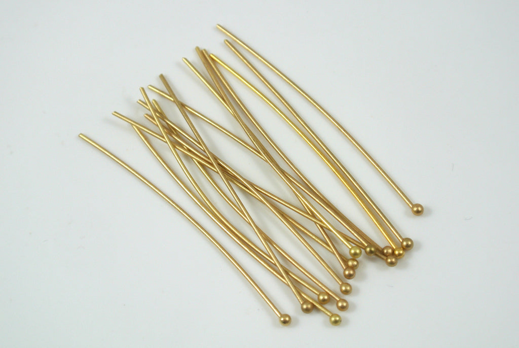 "Ballpin Satin Gold Electroplated 2"" 22g 20 Pieces"