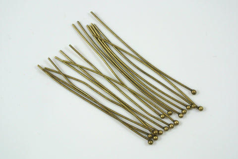 "Ballpin Antique Brass Electroplated 2"" 22g 20 Pieces"