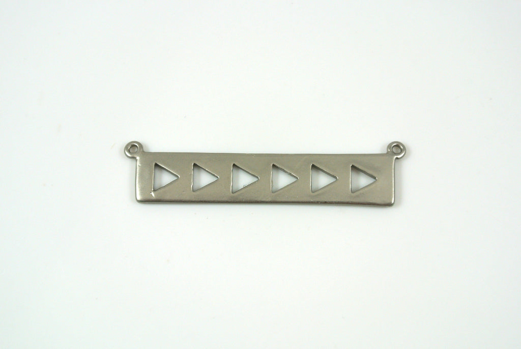 Bar Link With Triangles 7x35mm Satin Rhodium Electroplated 1 Piece