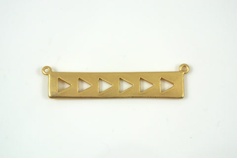 Bar Link With Triangles 7x35mm Satin Gold Electroplated 1 Piece