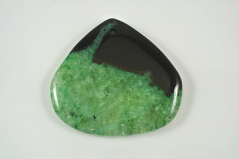 Agate Green Teardrop Pendant 49x45mm