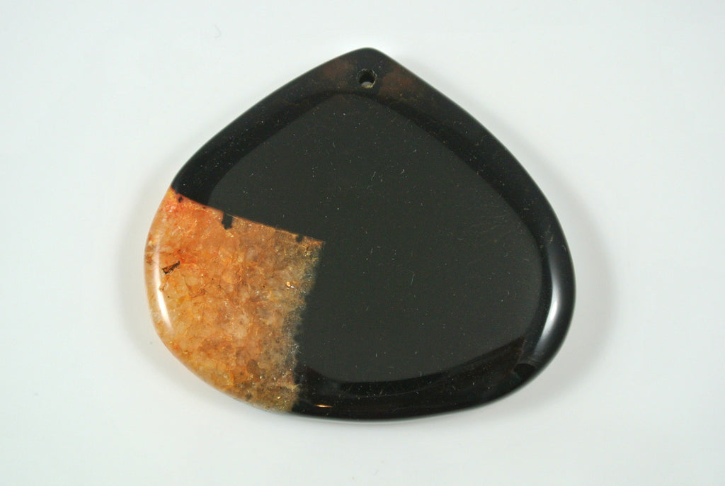 Agate Orange Teardrop Pendant 50x45mm