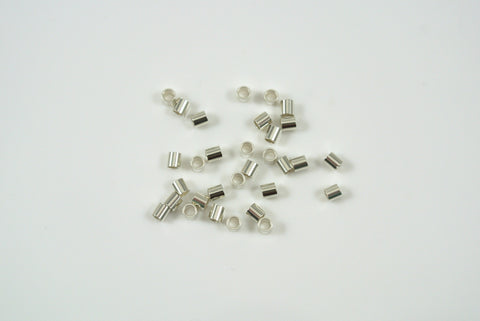 Sterling Silver Crimp Tube Bead 2x2mm 50 Pieces
