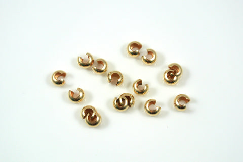 Gold-Filled Crimp Cover 4mm 10 Pieces