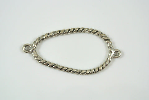 Link Oblong Oval Twist Texture Silver Electroplated 26x49mm 1 Piece