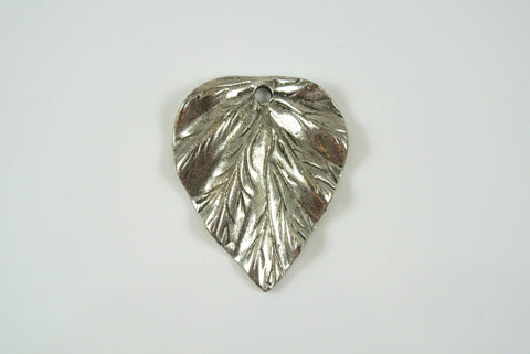 Pendant Leaf Drop Silver Electroplated 24x29mm 1 Piece