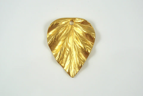 Pendant Leaf Drop Satin GoldElectroplated 24x29mm 1 Piece
