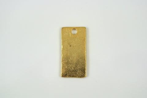 Pendant Rectangle Drop Satin Gold Electroplated 10x21mm 1 Piece