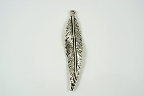 Pendant Feather Drop Silver Electroplated 11x50mm 1 Piece
