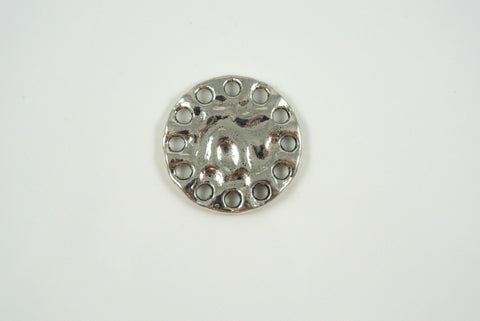 Link Round Textured Silver 21mm 1 Piece
