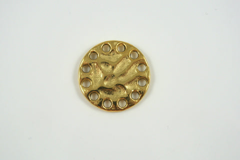 Link Round Textured Satin Gold 21mm 1 Piece