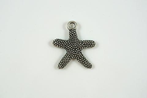 Starfish Charm Textured Silver Electroplated 21mm 1 Piece
