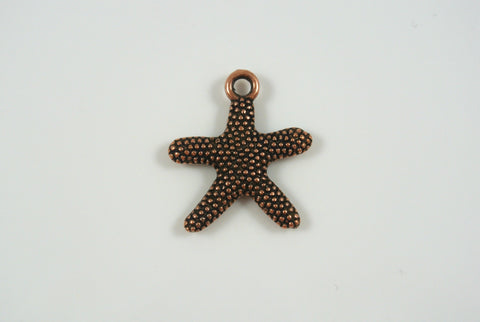 Starfish Charm Textured Antique Copper Electroplated 21mm 1 Piece