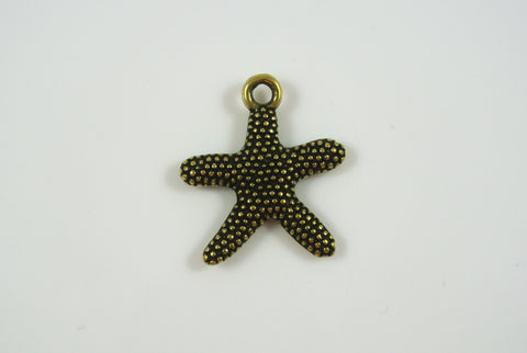 Starfish Charm Textured Antique Brass Electroplated 21mm 1 Piece