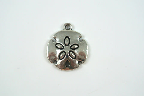 Sand Dollar Charm Silver Electroplated 20mm 1 Piece