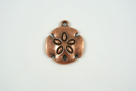 Sand Dollar Charm Antique Copper Electroplated 20mm 1 Piece