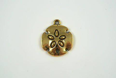 Sand Dollar Charm Antique Gold Electroplated 20mm 1 Piece