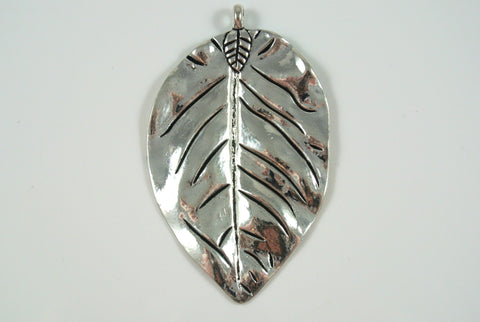 Leaf Large Pendant Silver Electroplated 43x72mm 1 Piece