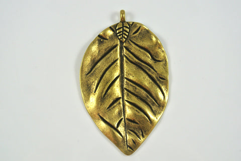 Leaf Large Pendant Antique Brass Electroplated 43x72mm 1 Piece