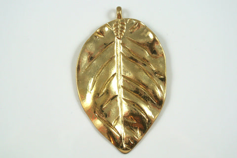 Leaf Large Pendant Satin Gold Electroplated 43x72mm 1 Piece