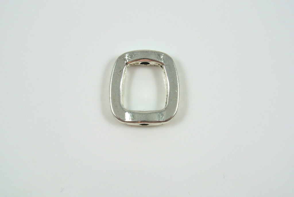 Bead Frame Irregular Square Silver Electroplated 16mm 1 Piece