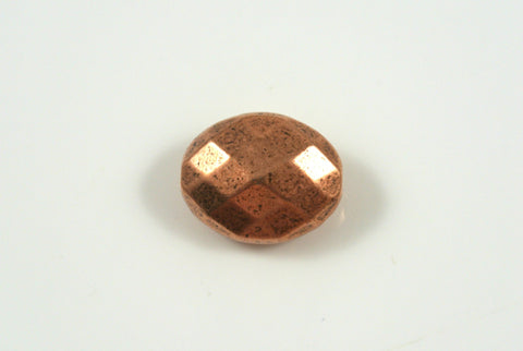 Bead Faceted Oval Antique Copper Electroplated 11x13mm 1 Piece