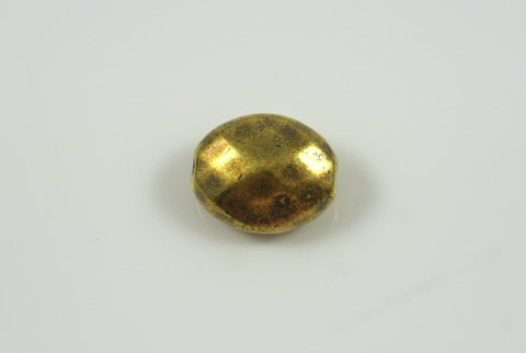 Bead Faceted Oval Antique Brass Electroplated 11x13mm 1 Piece