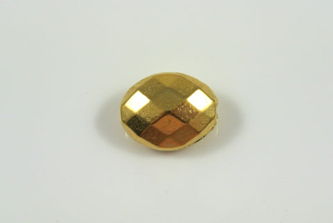 Bead Faceted Oval Antique Gold Electroplated 11x13mm 1 Piece