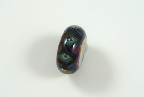 Liquid Sand Studio Lampwork Bead Dark Blue & Green Swirls 8x17mm