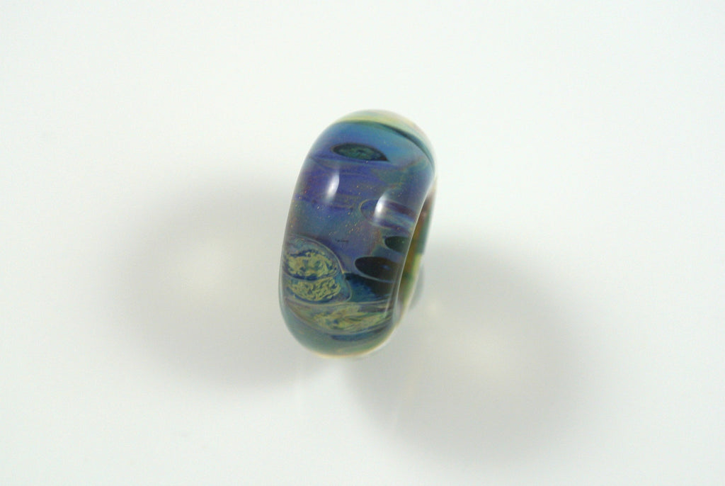 Liquid Sand Studio Lampwork Bead Luminescent Teal Pale Blue Lavender 9x17mm