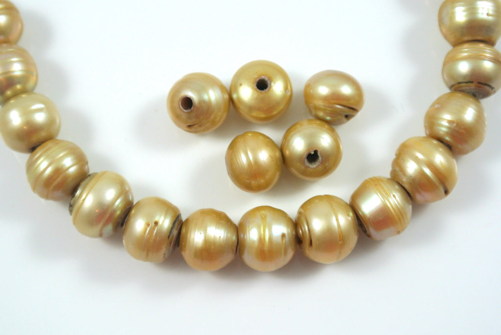 Freshwater Pearl Large Hole Golden Champagne Baroque 9-10mm 5 Beads