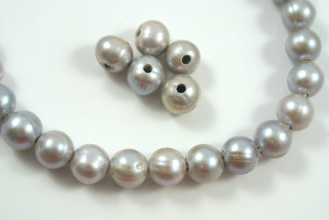 Freshwater Pearl Large Hole Gray Baroque 9-10mm 5 Beads