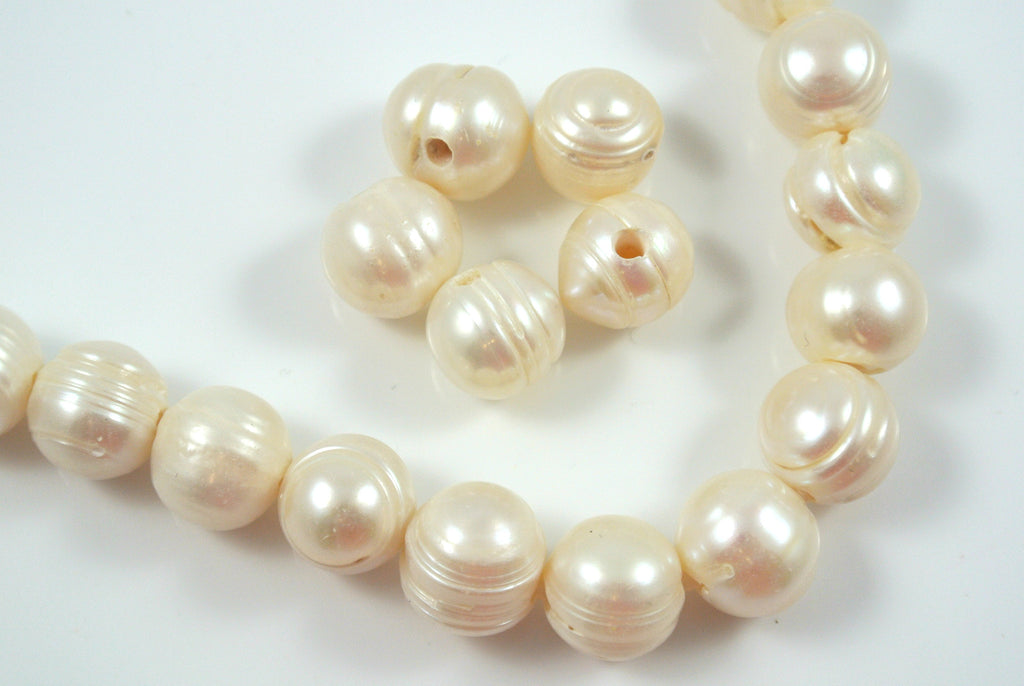 Freshwater Pearl Large Hole White Baroque 11-13mm 5 Beads
