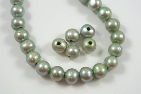 Freshwater Pearl Large Hole Green Baroque 9-10mm 5 Beads