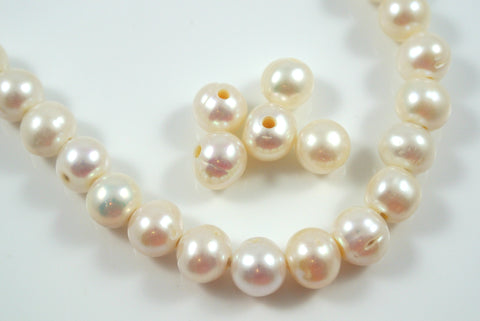 Freshwater Pearl Large Hole White Baroque 9-10mm 5 Beads
